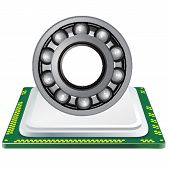 picture of processor  - bearing and computer processor on a white background - JPG