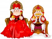 picture of clip-art staff  - Illustration of queen and king - JPG