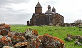 picture of armenia  - Ancient monastery at sunset day in Armenia - JPG