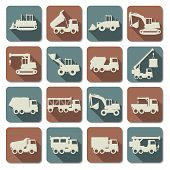 image of construction machine  - Construction Machines Flat Icons including sixteen signs of bulldozer - JPG