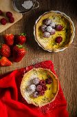 image of berries  - Lemon tart with rosemary and berries filled with cream topped berries - JPG