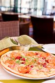 pic of tourist-spot  - Authentic pizza with tomatoes smoked sausage bacon and parsley - JPG
