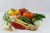 foto of mange-toute  - a group of raw spring onions - JPG