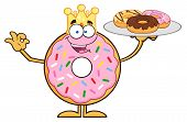 picture of donut  - King Donut Cartoon Character Serving Donuts - JPG