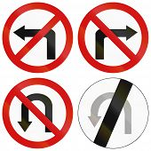 picture of traffic rules  - Collection of Polish traffic signs prohibiting turns - JPG