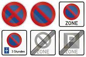 picture of restriction  - Collection of German traffic signs about parking and stopping restrictions including parking with parking disc - JPG