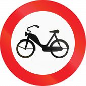 pic of traffic rules  - Austrian traffic sign prohibiting thoroughfare of mopeds - JPG