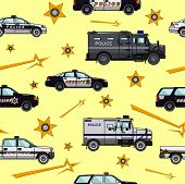pic of armored car  - Detailed seamless background with police cars in a flat style - JPG