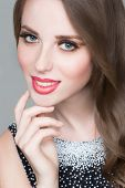 foto of purity  - Beautiful portrait of sensual european young woman model with glamour red lips make - JPG