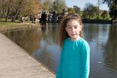 picture of ten years old  - Young and pretty girl ten years old playing at the park - JPG