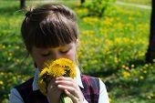 pic of dandelion  - little girl close - JPG