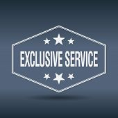 picture of exclusive  - exclusive service hexagonal white vintage retro style label - JPG