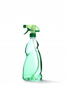 picture of trigger sprayer bottle  - Spray bottle with green liquid isolated on white - JPG