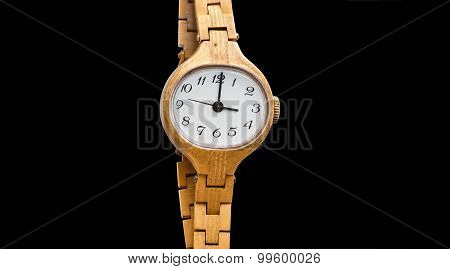 Vintage, Shabby Wristwatch. Black Background