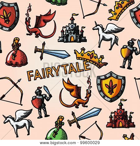 Color hand drawn fairytale pattern with - sword, bow, shield, knight, dragon, princess, crown, unico