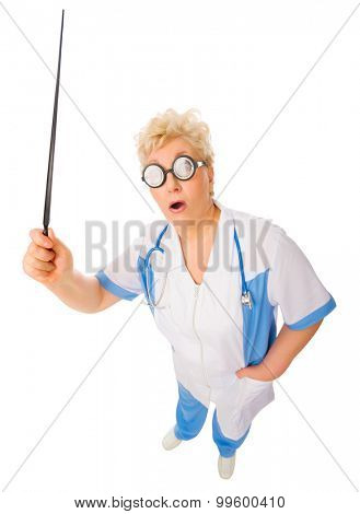 Mature funny doctor with pointer stick isolated