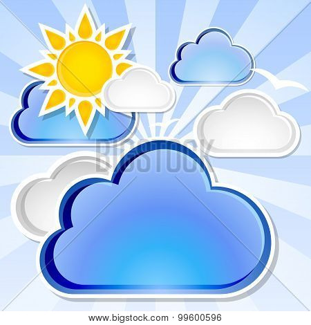 Weather Background With Sunshine And Clouds, Vector Illustration