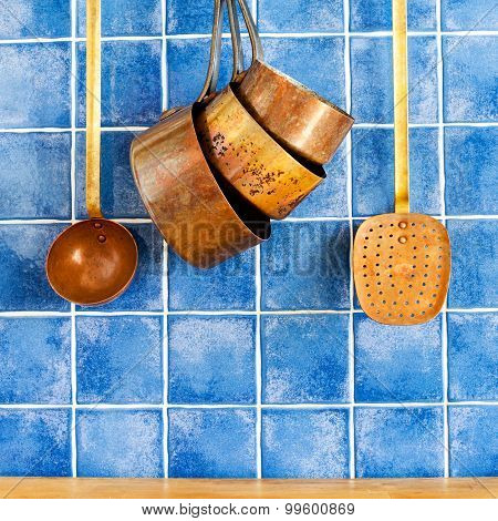 Retro Copper Utensils. Cookware, Kitchenware Set.