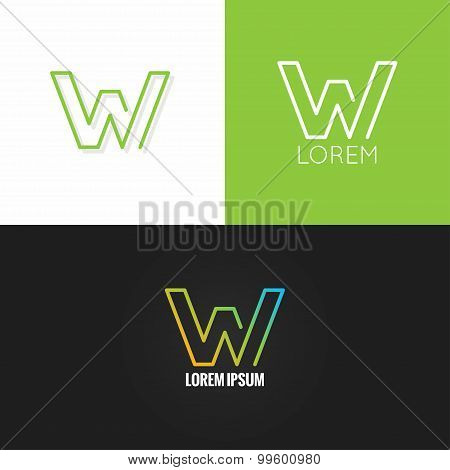 letter W logo alphabet design icon set background