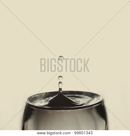 Water Drop. Glass Of Water.