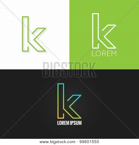 letter K logo alphabet design icon set background