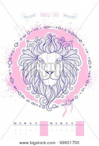 Astrological sign of the zodiac. Icon Leo drawn in a linear style. Decoration in vintage style. Vect