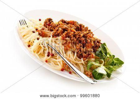 Pasta with meat, tomato sauce and vegetables on white background