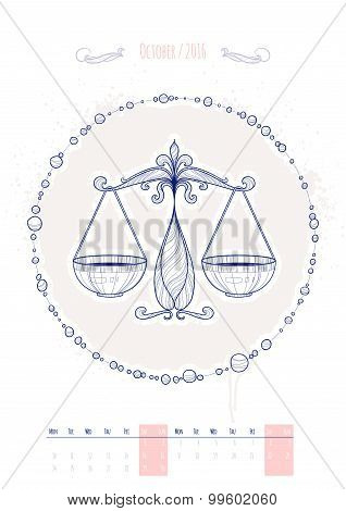 Astrological sign of the zodiac. Icon Libra drawn in a linear style. Decoration in vintage style. Ve