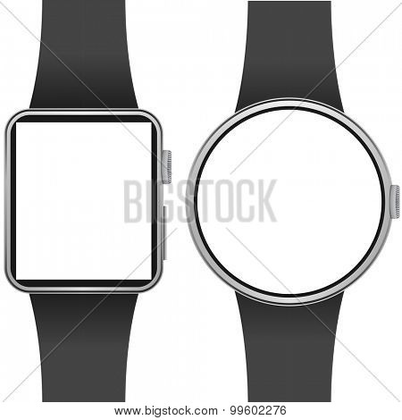 Smartwatch template with blank screen isolated on white background.