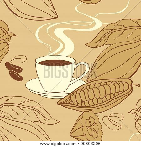 Cacao cup and beans seamless Pattern