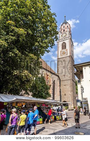 Typical Market In Front Of St. Nicholas Church In Meran