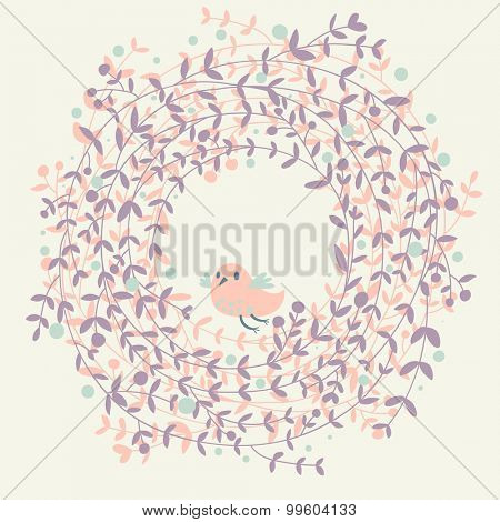 Lovely floral background with cute bird in pastel pink colors. Ideal for Save the Date card and other invitations