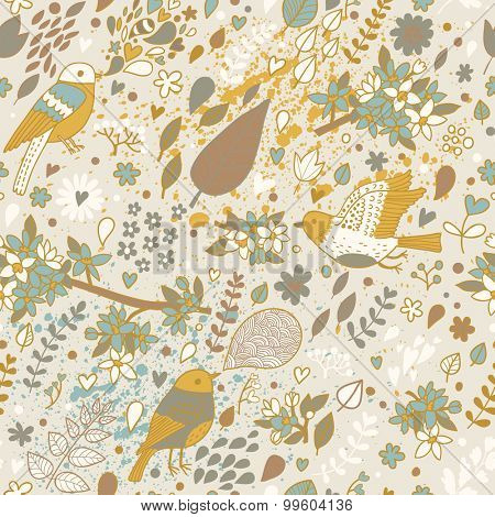 Awesome seamless pattern in vintage style. Lovely birds in summer leafs