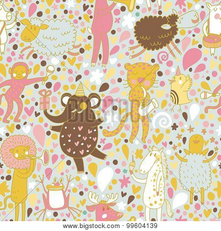 Lovely orchestra concept wallpaper. Lion, elephant, horse, elk, pig and monkey playing on musical instruments. Seamless pattern can be used for wallpaper, pattern fills, web page backgrounds