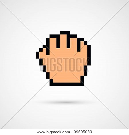 Pixel cursor icon - Cursor hand.Vector Illustration.