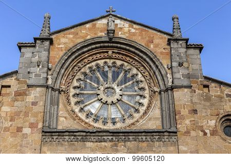 Church Of San Pedro, Detail Main Facade Stands Out Its Cistercian Rosette, Avila, Spain