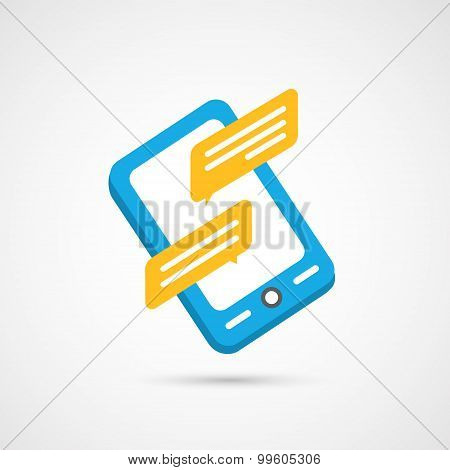 Modern colorful flat social icon of Smartphone on White Backgrou