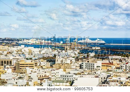 Aerial Of Arrecife With Cargo And Cruise Ship Harbor