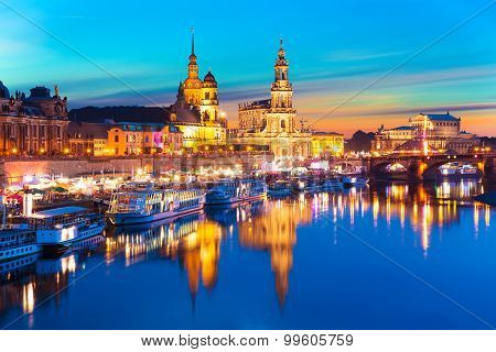 Evening scenery of the Old Town in Dresden, Germany