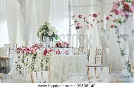Wedding decoration on table. Floral arrangements and decoration