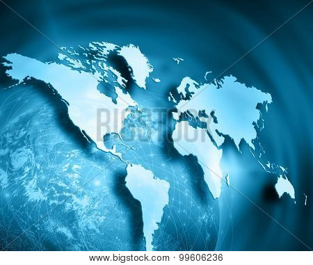 World map on a technological background, glowing lines symbols of the Internet, radio, television, mobile and satellite communications. Best Internet Concept of global business