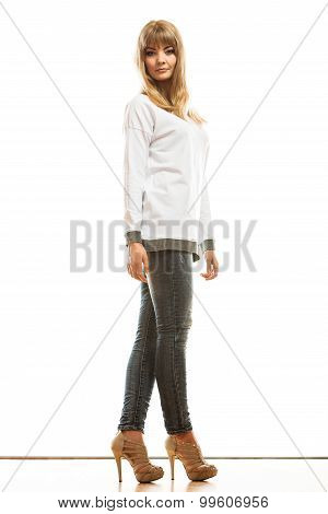 Blonde Fashionable Woman In White Shirt