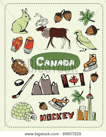 Canadian associated symbols. Canadian national and cultural related and sketches with pen Canadian ethnic elements. Canadian concept sketches and Canadian background sign. Canadian vector doodle. Canada art. Hockey, yurt, deer.