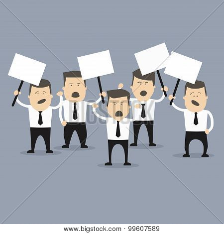 Business creative concept. People in crisis with banners protesting. Vector illustration. Crisis concept. Manager protesting. Business people protesting. Leader of protesters, banners statements.