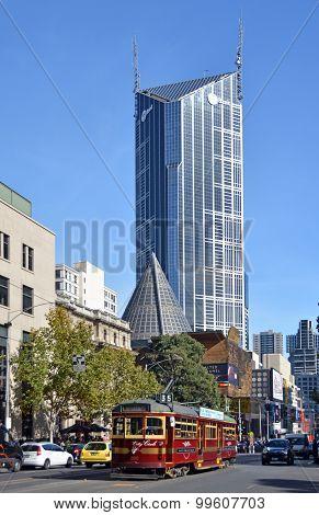 Vintage Red Tram In La Trobe Street, Melbourne