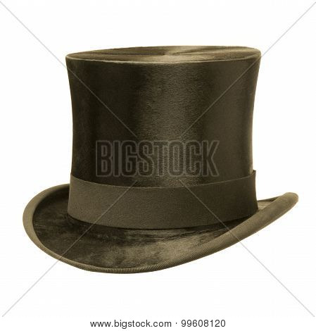 Formal Black Top Hat Against White