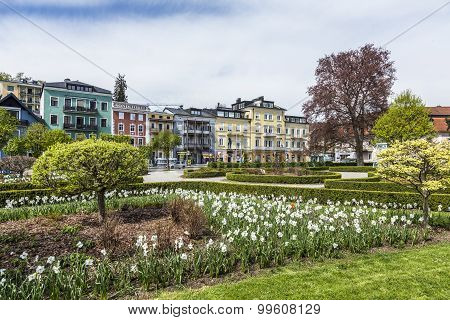 View Of Kurpark With Beautiful Historic Houses In  Gmunden