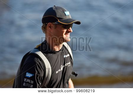ST. PETERSBURG, RUSSIA - AUGUST 21, 2015: Co-skipper and tactician Rasmus Kostner from the SAP Extreme Sailing Team of Denmark after the 2nd day of St. Petersburg stage of Extreme Sailing Series