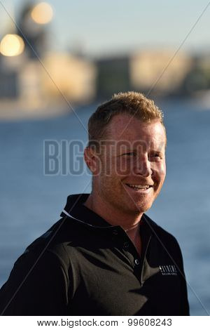 ST. PETERSBURG, RUSSIA - AUGUST 21, 2015: 2009 Series winning skipper Pete Cumming of UK after 2nd day of St. Petersburg stage of Extreme Sailing Series. Cumming has 7 years of Extreme 40 experience