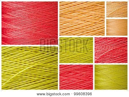 Collage From Close Ups Of Synthetic Colorful Threads